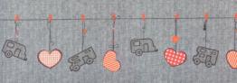 Arisol Teppich-Läufer Herzmotiv grau