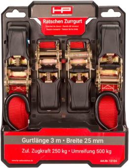 HP Ratschen-Zurrgurt-Set mit Haken 4 Stück a 3 Meter