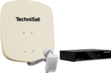 Technisat Set DigiDish 45 Sat-Antenne (Twin-LNB) mit Digit S3 HD SAT-Receiver beige