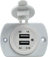 USB Einbau-Dose 2-fach weiß